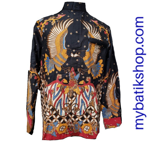 Batik Romo Koko for Men Semi Tulis Long-sleeves Black Multi
