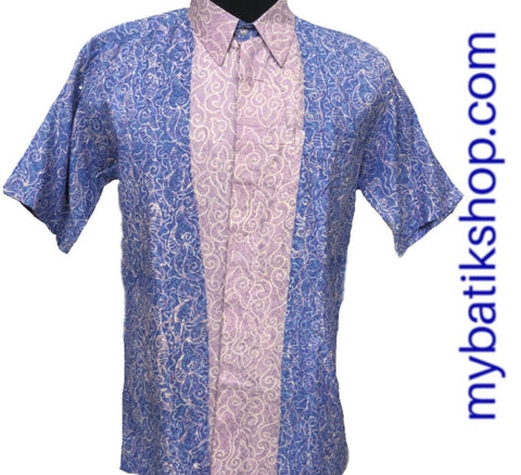 Batik for Men Doby Embossed Blue Short-sleeves