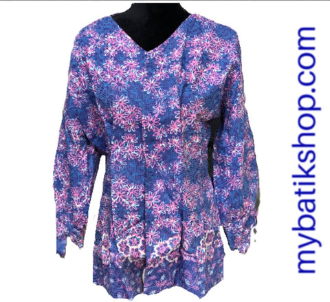 Batik for Ladies Lined Doby Blue Flower Blazer