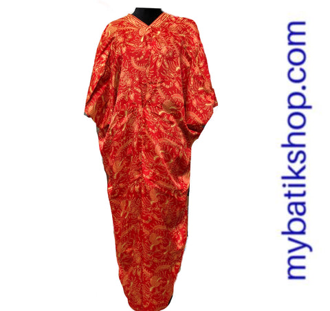 Batik Silk Kaftan Red and Gold