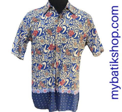 Men's Batik Short-sleeves cotton blue