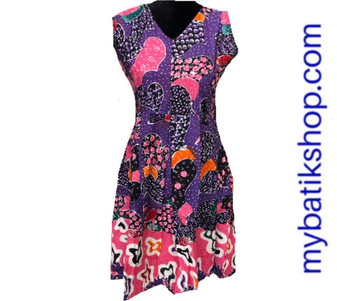 Batik Tulis Career Purple Sleeveless Dress