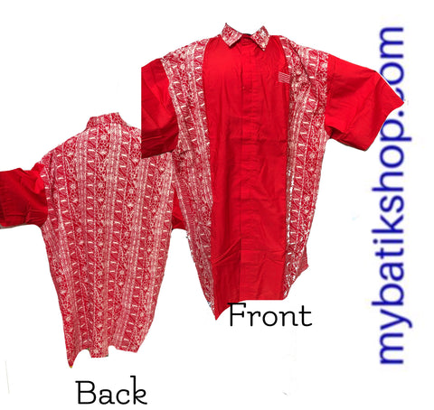 Batik for Young Men Paris Lined Red Short Sleeves