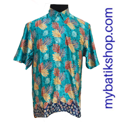 Men Semi Silk Turquois Short Sleeves