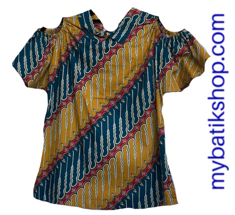 Misses MJ Batik Top Mustard Multi Parang