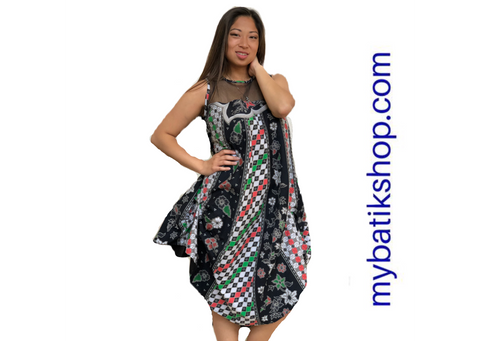 Batik Cap Sleeveless Dress with Sheer Lace Top Black and Multi Checkers