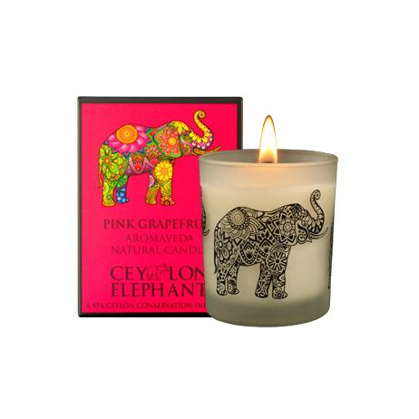 Ceylon Elephant - Pink Grapefruit Natural Candle - SPA CEYLON Natural Luxury Ayurveda Home Aroma