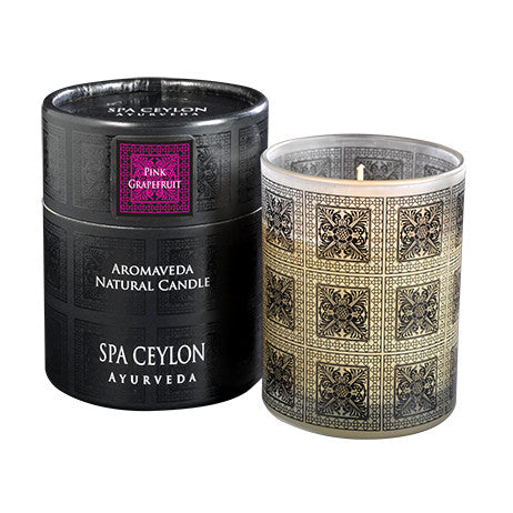 PINK GRAPEFRUIT Aromaveda Natural Candle with Paper Tube SPA CEYLON Natural Luxury Ayurveda