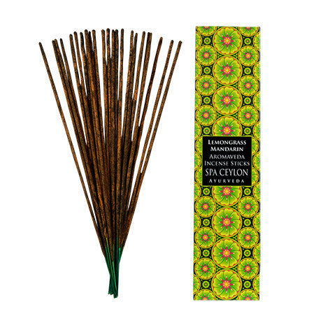 LEMON GRASS & MANDARIN - AROMAVEDA INCENSE STICKS SPA CEYLON Natural Luxury Ayurveda