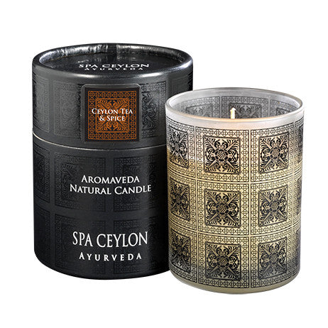 EYLON TEA & SPICE Aromaveda Natural Candle with Paper Tube SPA CEYLON Natural Luxury Ayurveda