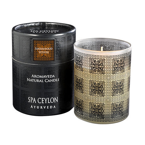 SANDAL VETIVER Aromaveda Natural Candle with Paper Tube SPA CEYLON Natural Luxury Ayurveda