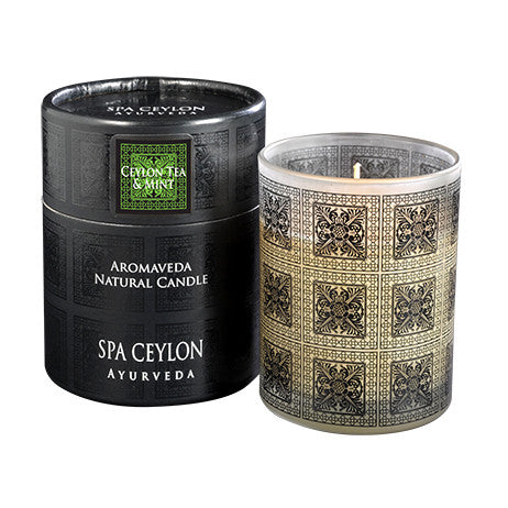 CEYLON TEA & MINT Aromaveda Natural Candle with Paper Tube SPA CEYLON Natural Luxury Ayurveda