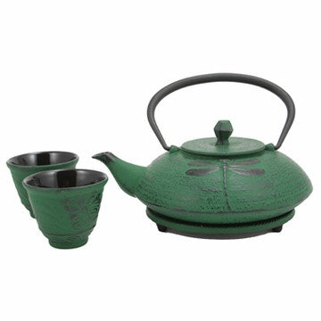 Cast Iron Tea Set (Green Dragonfly)