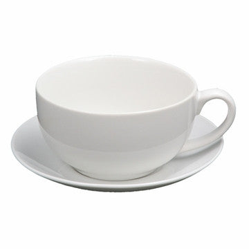 Ceramic Teacup & Saucer (White)