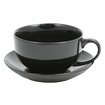 Ceramic Teacup & Saucer (Black)