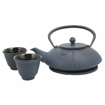 Cast Iron Tea Set (Blue Dragonfly)
