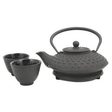 Cast Iron Tea Set (Black Hobnail Tetsubin Set)