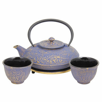 Cast Iron Tea Set (Blue with Gold Dragon Phoenix)