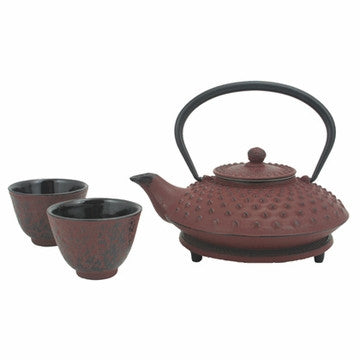 Cast Iron Tea Set (Red Hobnail Tetsubin Set)