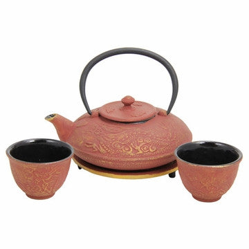 Cast Iron Tea Set (Red with Gold Dragon Phoenix)
