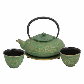 Cast Iron Tea Set (Green with Gold Dragon Phoenix)