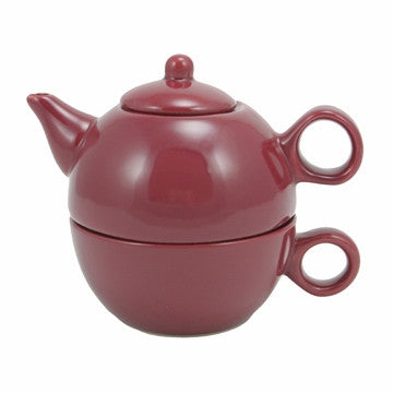 English Teapot (Burgundy Teapot with Cup)