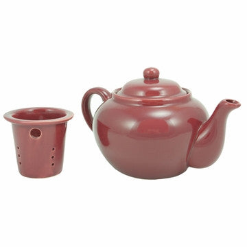 English Teapot (Burgundy Teapot with Infuser)