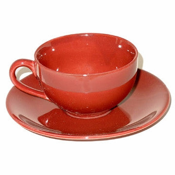Ceramic Teacup & Saucer (Burgundy)