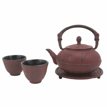 Cast Iron Tea Set (Red Plum Blossom)