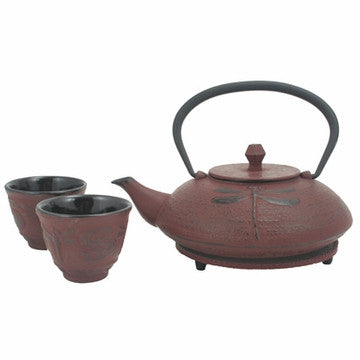 Cast Iron Tea Set (Red Dragonfly)