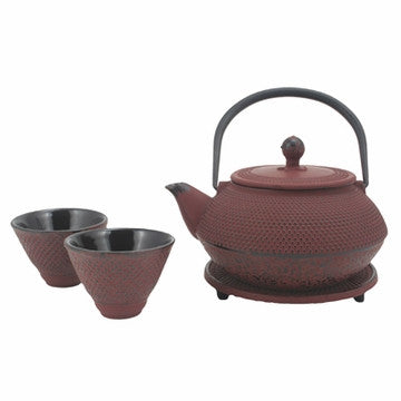 Cast Iron Tea Set (Red Nail Head Tea Set)