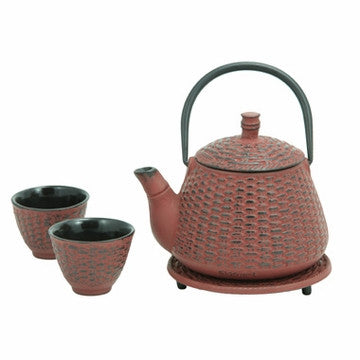 Cast Iron Tea Set (Red Bamboo Basket)
