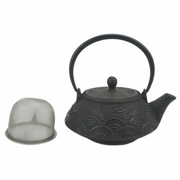 Cast Iron Teapot (Crane Over Sea Black Tetsubin)