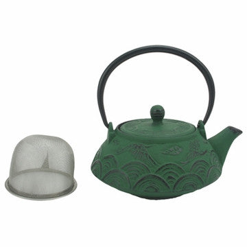 Cast Iron Teapot (Crane Over Sea Green Tetsubin)