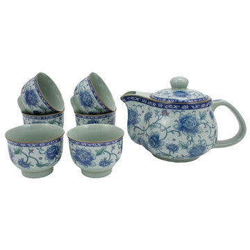 Japanese Style Tea Set (Elegant Flowers)