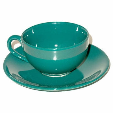 Ceramic Teacup & Saucer (Green)
