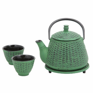 Cast Iron Tea Set (Green Bamboo Basket)
