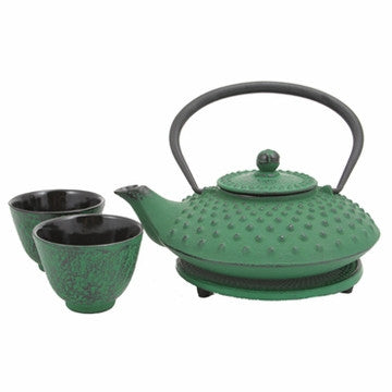 Cast Iron Tea Set (Green Hobnail Tetsubin Set)