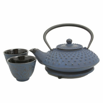 Cast Iron Tea Set (Blue Hobnail Tetsubin Set)
