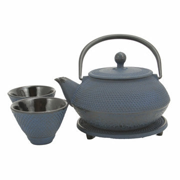 Cast Iron Tea Set (Blue Nail Head Tea Set)