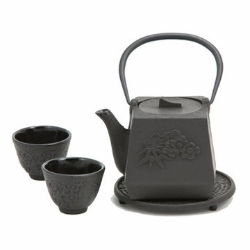 Cast Iron Tea Set (Black Peony Flower)