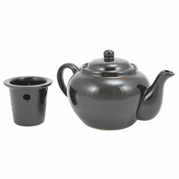 English Teapot (Black Teapot with Infuser)