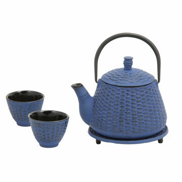 Cast Iron Tea Set (Blue Bamboo Basket)