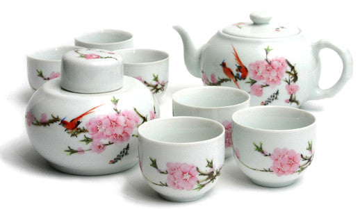 Porcelain Tea Set (Bird and Cherry Blossom)