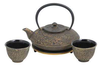 Cast Iron Tea Set (Black with Gold Dragon Phoenix)