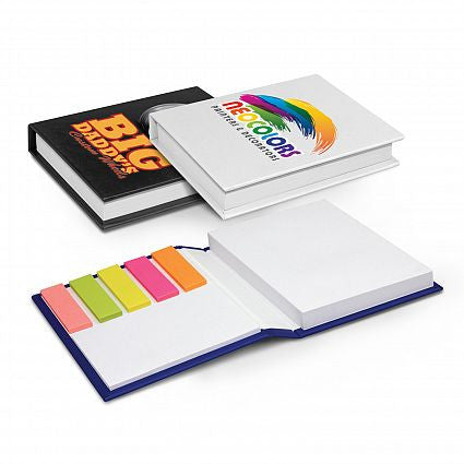 Notebook with sticky tabs