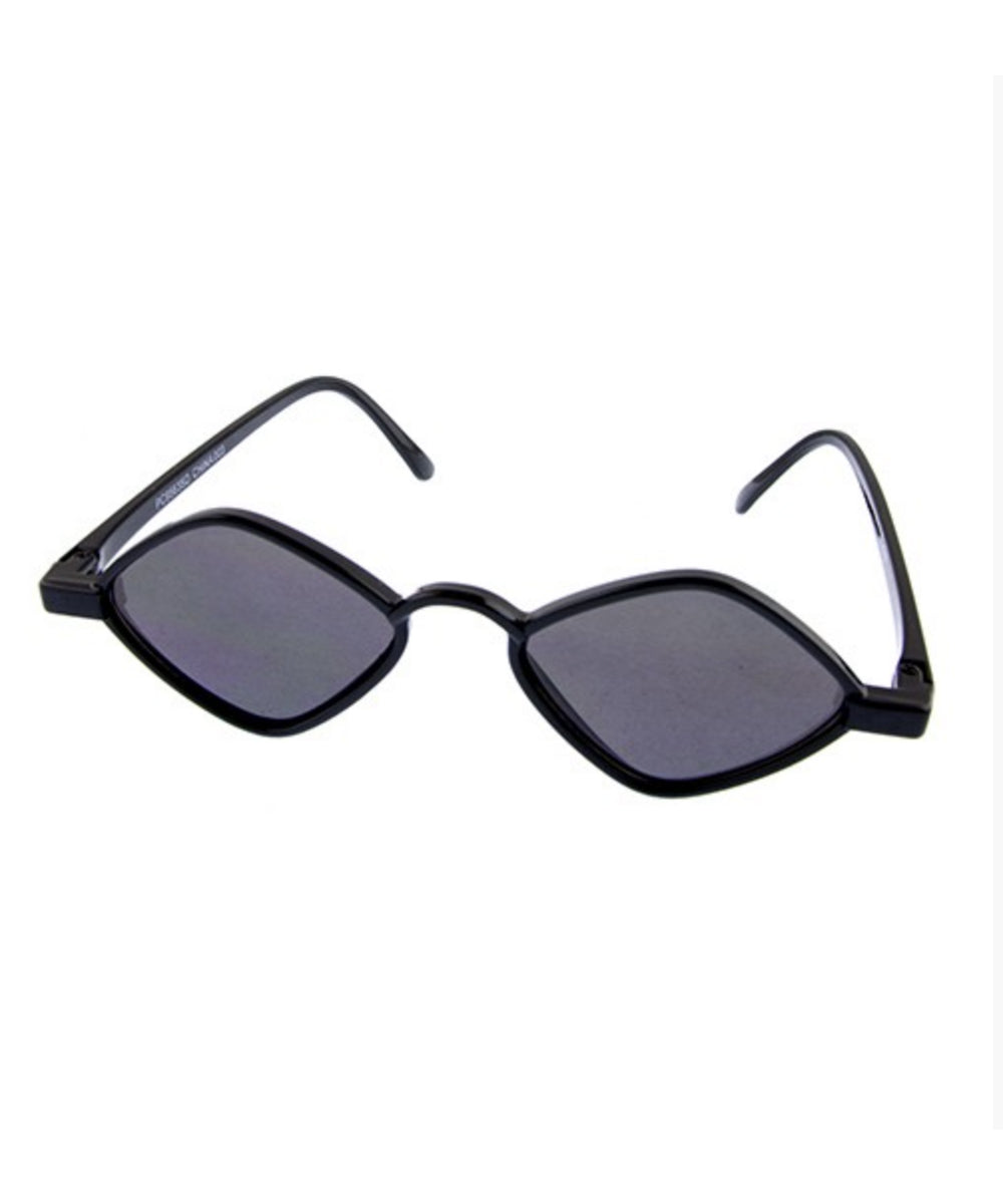 1930s Small Frame Diamond Vintage Inspired Black Sunglasses
