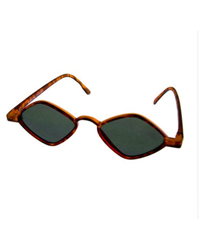 1930s Small Frame Diamond Vintage Inspired Tortoise Brown Sunglasses