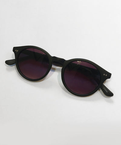 1940s Matte Black Round Vintage Inspired Sunglasses