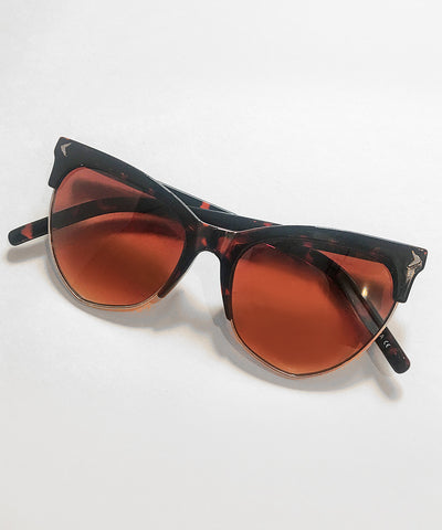 1940s Style Dark Tortoise Brown Horn Rimmed Sunglasses